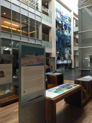 Exhibits in the lobby of the IRC.