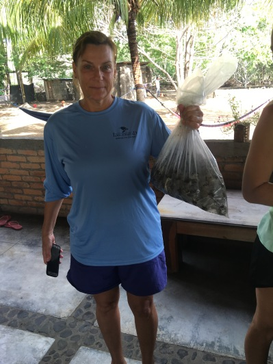 LMC S.W.I.M. participant prepares to relocate hawksbill sea turtle eggs. Padre Ramos Natural Preserve.
