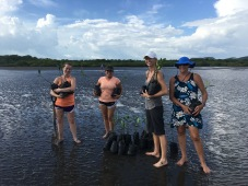 S.W.I.M. participants ready to start planting mangroves.
