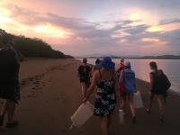 S.W.I.M. participants head back to the field station after releasing sea turtle hatchlings at sunset. Padre Ramos Natural Preserve.
