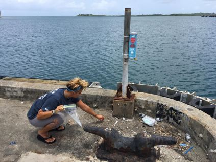LMC Intern, Stephanie, conducting the preliminary cigarette litter scan in Ceiba, Puerto Rico.