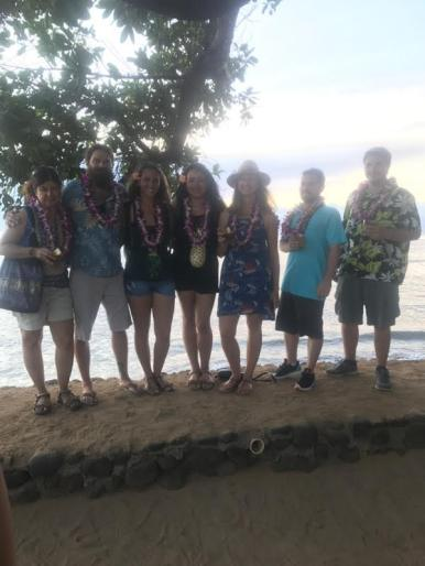 LMC guides and SWIM guests enjoying their last night on Maui at a Luau.